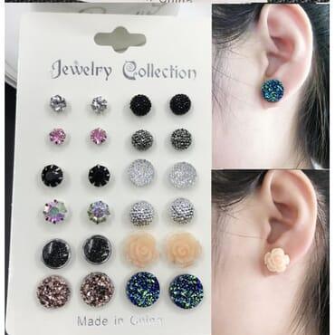 Women Elegant Earrings Jewelry Set. 12 Pairs