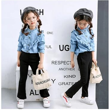 Fashion Children Female Denim Tops - Blue