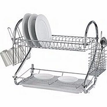 Generic Generic Plate Rack Non Rust Stainless Dish Drainer 2 Layers Cup & Cutlery Holder