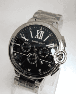 Cartier Silver Chain Black Faced Chronograph Wrist Watch