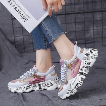 Female Retro Breathable Hollow Sneaker.