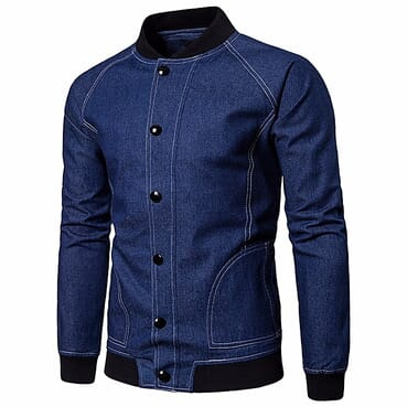 Men's Autumn Cowboy Slim Long Sleeved Denim Solid Blouse Fit Shirt Jacket