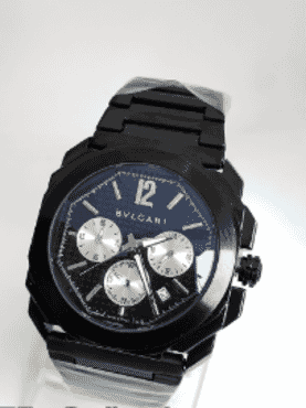 BVLGARI All Black Chronograph Wrist Watch