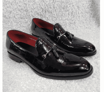 Black Shinny Croc Tassel Loafer Shoe + A Free Happy Socks
