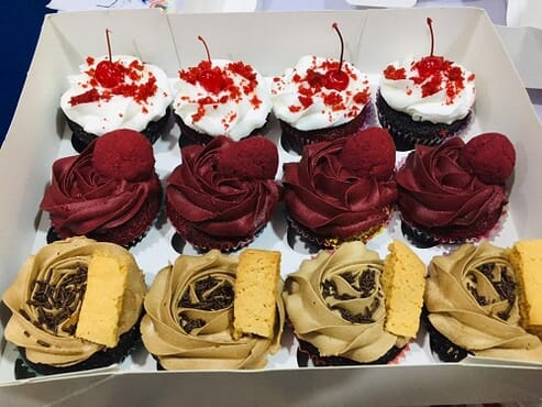 Box of 12 Cup Cakes With Special red Velvet buttercream,