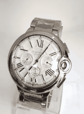 Cartier Pure Silver Roman Chronograph Wrist Watch