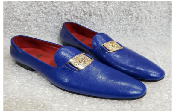 Blue Designed Monk Loafer Shoe + A Free Happy Socks