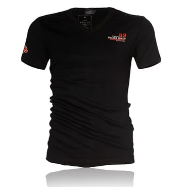 Police B.349 Bigsize Black Large Short Sleeve V-Neck T-Shirt
