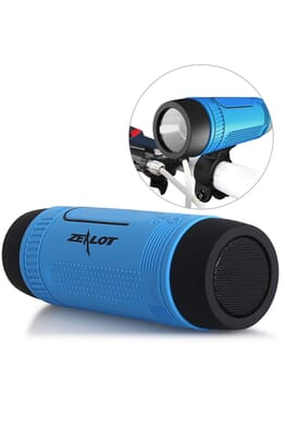 ZEALOT Ardor S1 Multifuctional Ultra Portable Wireless Bluetooth Stereo Speaker-Hi-Fi,TF Card Slot,Flashlight,PowerBank 4000mAh,Line in Audio Input,Waterproof,Hand-Free Call,FM Radio-Blue