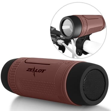 ZEALOT Ardor S1 Multifuctional Ultra Portable Wireless Bluetooth Stereo Speaker-Hi-Fi,TF Card Slot,Flashlight,PowerBank 4000mAh,Line in Audio Input,Waterproof,Hand-Free Call,FM Radio-Brown