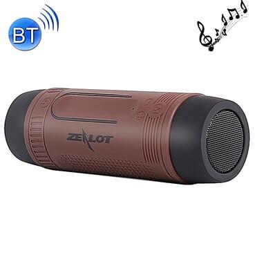 ZEALOT Ardor S1 Multifuctional Ultra Portable Wireless Bluetooth Stereo Speaker-Hi-Fi,TF Card Slot,Flashlight,PowerBank 4000mAh,Line in Audio Input,Waterproof,Hand-Free Call,FM Radio-Brown
