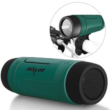 ZEALOT Ardor S1 Multifuctional Ultra Portable Wireless Bluetooth Stereo Speaker-Hi-Fi,TF Card Slot,Flashlight,PowerBank 4000mAh,Line in Audio Input,Waterproof,Hand-Free Call,FM Radio-Green