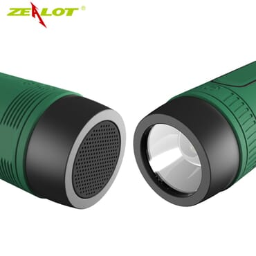 ZEALOT Ardor S1 Multifuctional Ultra Portable Wireless Bluetooth Stereo Speaker-Hi-Fi,TF Card Slot,Flashlight,PowerBank 4000mAh,Line in Audio Input,Waterproof,Hand-Free Call,FM Radio-Green
