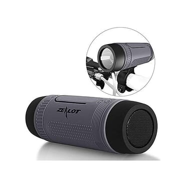 ZEALOT Ardor S1 Multifuctional Ultra Portable Wireless Bluetooth Stereo Speaker-Hi-Fi,TF Card Slot,Flashlight,PowerBank 4000mAh,Line in Audio Input,Waterproof,Hand-Free Call,FM Radio-Grey
