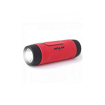 ZEALOT Ardor S1 Multifuctional Ultra Portable Wireless Bluetooth Stereo Speaker-Hi-Fi,TF Card Slot,Flashlight,PowerBank 4000mAh,Line in Audio Input,Waterproof,Hand-Free Call,FM Radio-Red