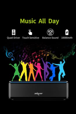 Zealot S7 Touch Control Multi-functional Wireless Speaker With Power Bank Of 10000mah Capacity-black