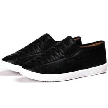 Faux Leather Slip-on Shoes - Black