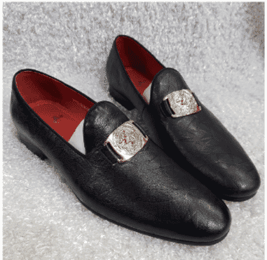 Black Designed Men's Loafer Shoe + A Free Happy Socks
