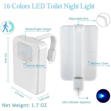 16 Colors Changing WC Rim/Belt Motion Detection Toilet Light