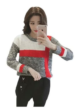 Round neck knitted jumper pullover T-shirt Tops