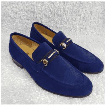 Blue Fabi Horsebit Loafer Shoe + A Free Happy Socks