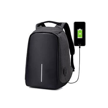 Generic Waterproof Backpack Outdoor Laptop Travel Bag USB Charging Anti Theft Backpack- Black
