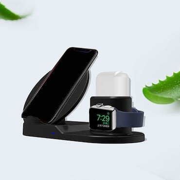 3 - in - 1 Fast Wireless Charging Stand - Black