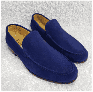 Blue Suede Men's Loafer Shoe + A Free Happy Socks