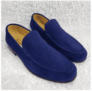 Blue Suede Men's Loafer Shoe + A Free Happy Socks
