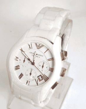 Emporio Armani White And Gold Chronograph Wrist Watch