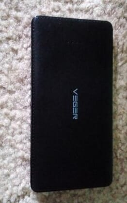 VEGER Leather Finish Slimmest 12000mah Power Bank-V59 Black