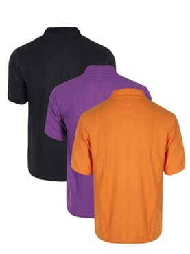 3 IN 1 PLAIN POLO T-SHIRT BLACK/PURPLE/ORANGE