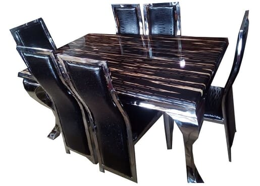 Generic Marble Top Dinning Table With Six Sitting Chairs