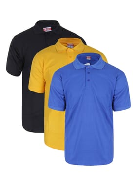 3 IN 1PLAIN POLO T-SHIRT BLACK/YELLOW/BLUE
