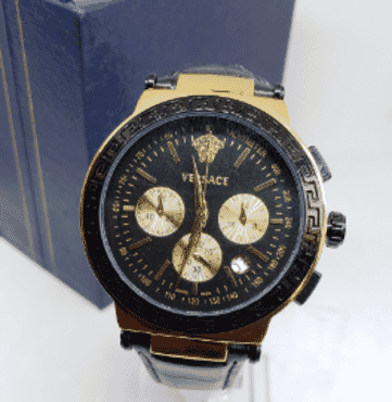 Versace Black Leather Chronograph Wrist Watch