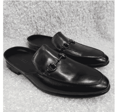 Plain Leather Horsebit Half Shoe