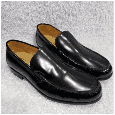 Black Shinny Leather Loafers + A Free Happy Socks
