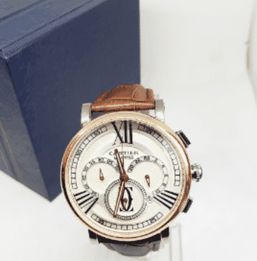 Cartier Brown Leather Strap Chronograph Wrist Watch
