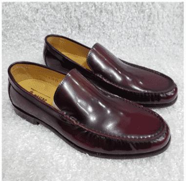 Wine Shinny Men's Loafers + A Free Happy Socks