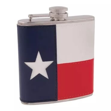 Faux Leather Stainless Steel Hip Liquor Texas Flag Flask