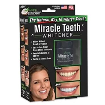 Miracle Teeth Whitener Activated Coconut Charcoal Powder