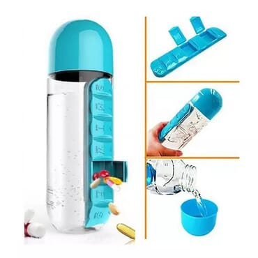 600ml Water Bottle With Built-in Daily Pill Box Organizer