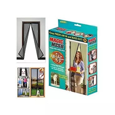 Magic Mesh Anti-mosquito Screen Door Curtain - Black