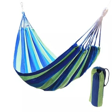 Hammock Canvas Outdoor Swing Sleep Bed + Carrier Bag - Blue & Green