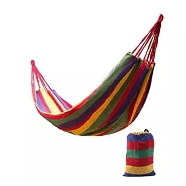 Outdoor Canvas Hammock Bed + Carrier Bag - Multicolour