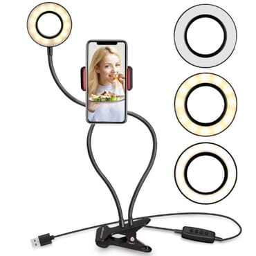 Ring Light With Phone Holder Stand For Live Stream & Makeup - 3 Light Mode]