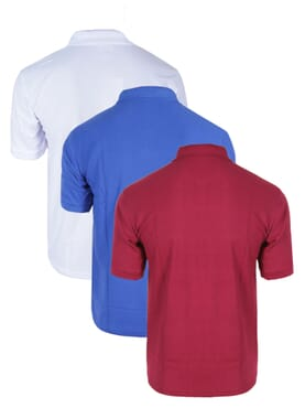 3 IN 1 PLAIN POLO T-SHIRT WHITE/BLACK/WINE