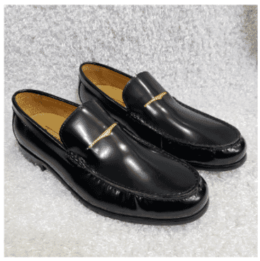 Shinny Leather Men's Loafer Shoe + A Free Happy Socks