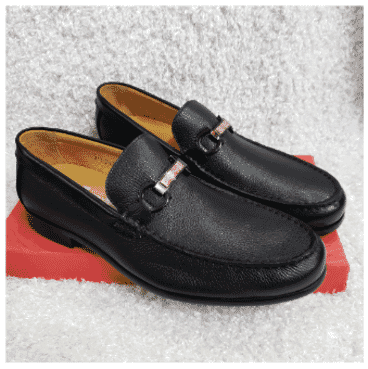 Rough Leather Men's Loafer Shoe + A Free Happy Socks