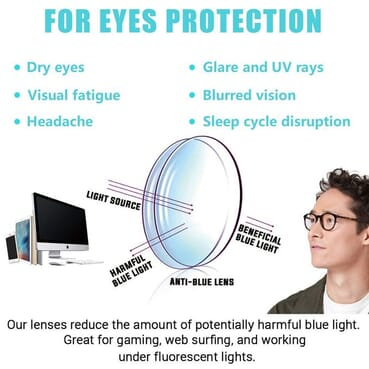 Unisex Blue Light Blocking Glasses for Computer, TV, Smartphone